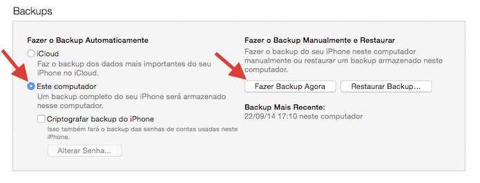 Iniciando um backup do iPhone no iTunes (Foto: Reprodução/Marvin Costa)