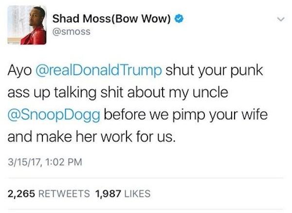A mensagem polêmica compartilhada por Bow Wow, mencionando Snoop Dogg, Donald Trump e Melania Trump (Foto: Twitter)