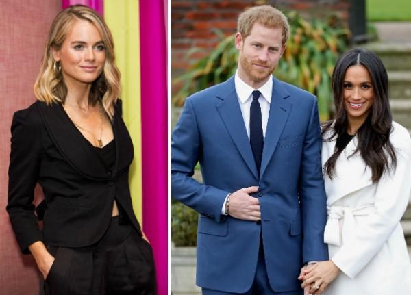 A ex-namorada do Príncipe Harry, Cressida Bonas, e o neto da Rainha com a noiva, a atriz Meghan Markle (Foto: Getty Images)
