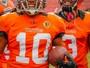 Wide receiver dos Tritões comemora quatro touchdowns no mesmo jogo