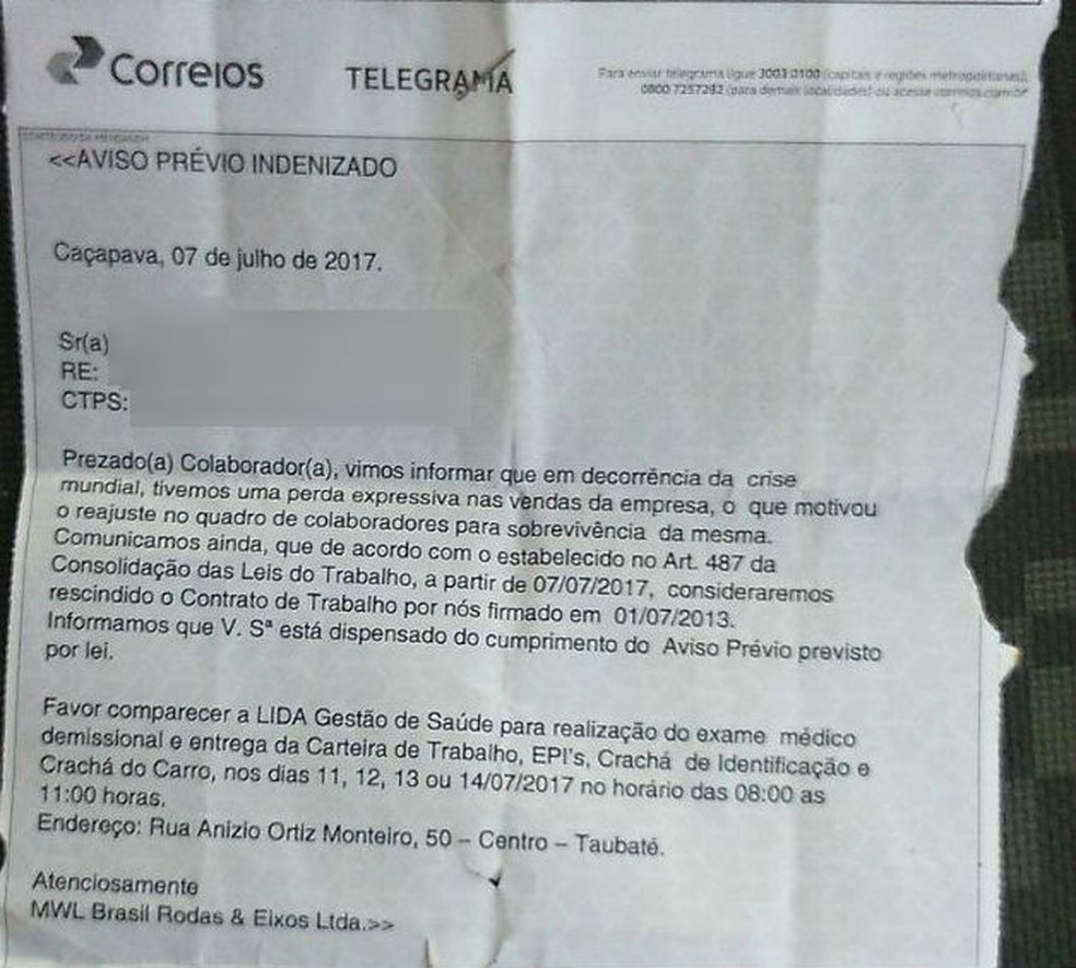 Cartas de demissão começaram a ser entregues na última sexta-feira (7) (Foto: Sindicato dos  Metalúrgicos)