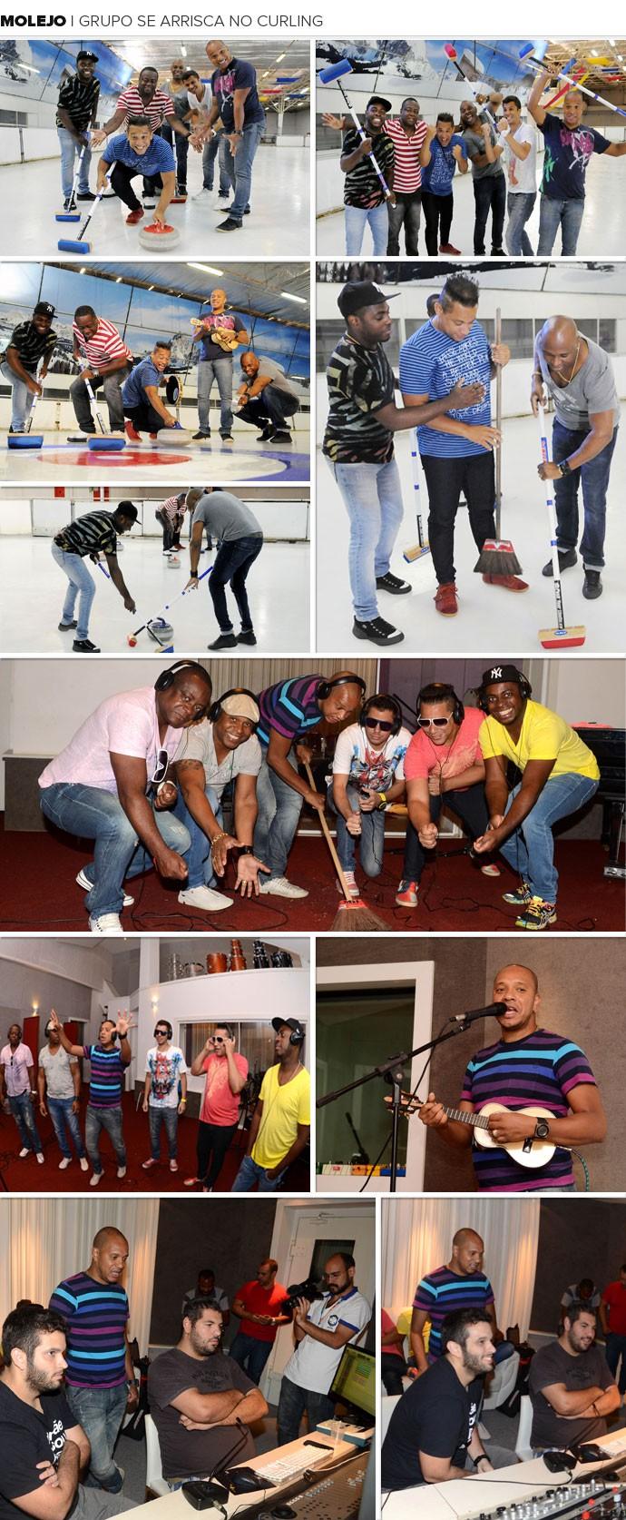 MOSAICO: Molejo - Grupo se arrisca no curling  (Foto: editoria de arte)