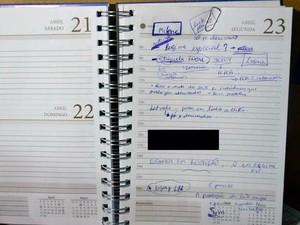 Segundo o MP, anotações comprovam a prática da fraude no leite no RS (Foto: Divulgação/MP)