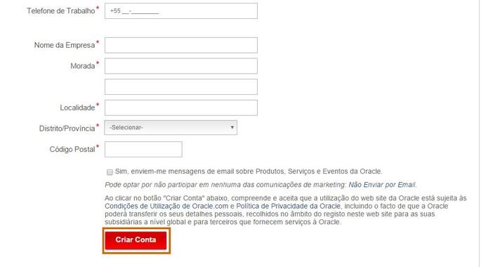 Adicione suas informações e crie a conta na Oracle (Foto: Reprodução/Barbara Mannara)