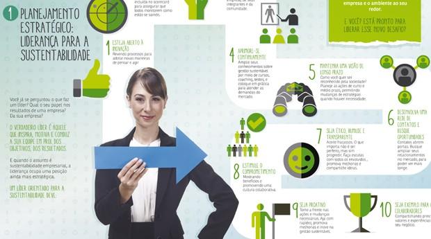 A proposta dos infográficos da série Dimensões da Sustentabilidade é mostrar de uma forma simples e direta que a sustentabilidade é possível e aplicável na realidade dos empresários (Foto: Divulgação / Sebrae)