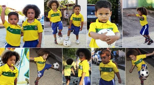 Too Cute! Mini dopplegangers of Brazils David Luiz & Thiago Silva show off their football skills [Video]