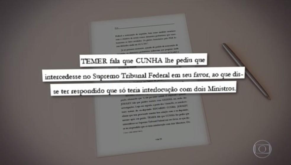 Temer conta a Joesley Batista que Eduardo Cunha pediu para interceder junto ao STF em favor do deputado cassado (Foto: Reprodução / TV Globo)