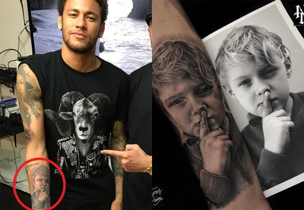 Neymar tatuou no braço o filho David Lucca imitando sua pose (Foto: Reprodução/Instagram)