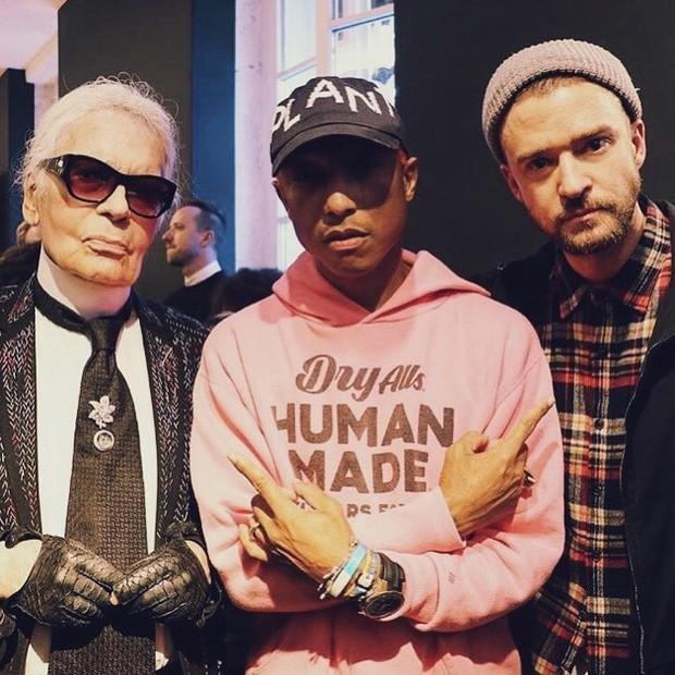 Karl Lagerfeld, Pharell Williams e Justin Timberlake (Foto: Reprodução/ Instagram)