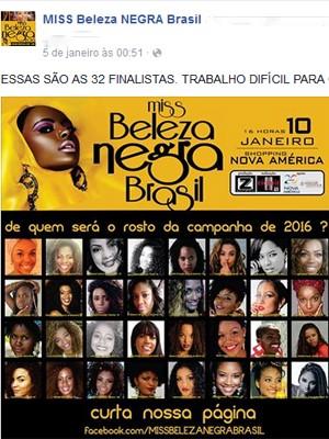 Concurso Miss Beleza Negra Brasil (Foto: Reprodução da internet)
