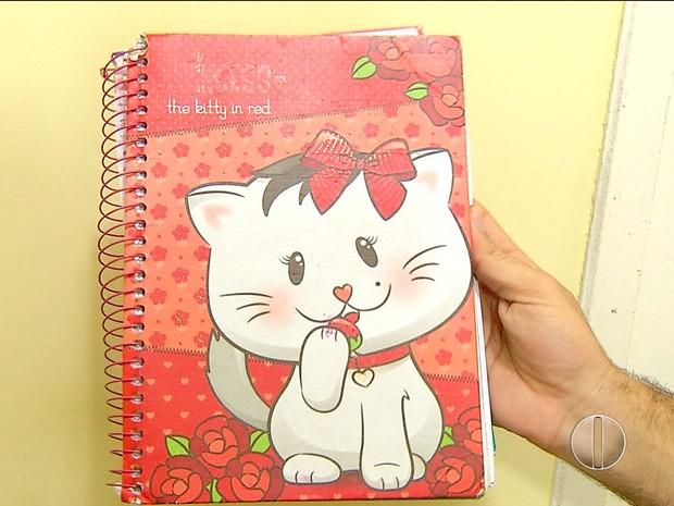 Caderno que estava com adolescente é feminino (Foto: Reprodução/Inter TV Cabugi)