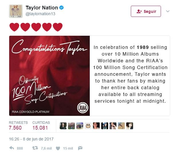 Taylor Swift  (Foto: Reprodução/Twitter)