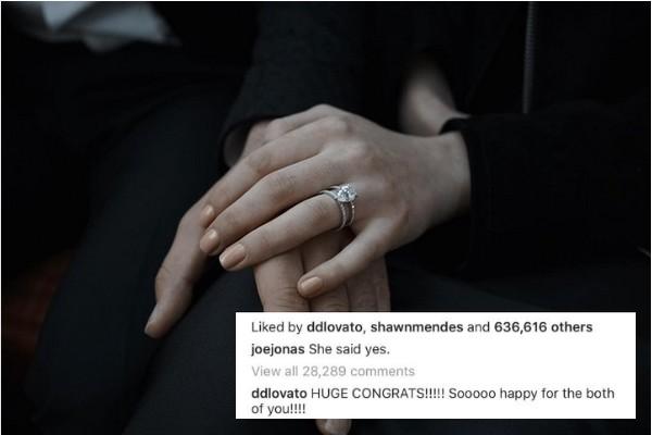 A foto compartilhada por Joe Jones anunciando seu noivado com Sophie Turner e o comentário de Demi Lovato (Foto: Instagram)