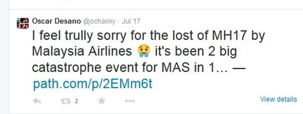 Em julho, Oscar Desano havia comentado sobre queda de avião da Malaysia Airlines (Foto: Reprodução/Twitter/Oscar Desano)