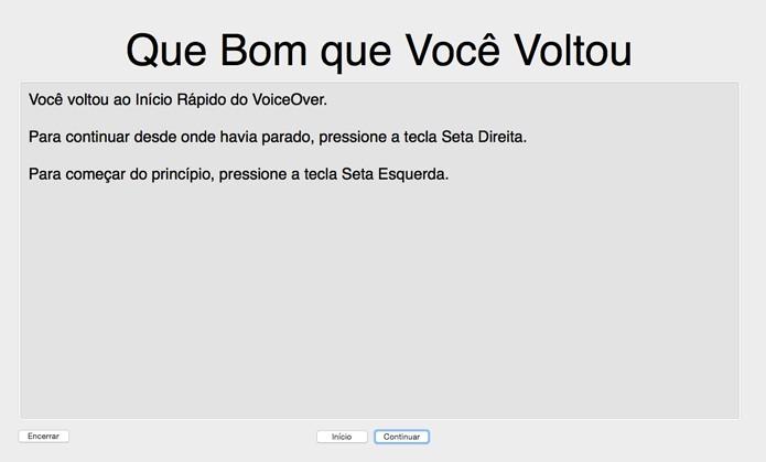 Treinamento para utilizar o Voice Over no Mac (Foto: Reprodução/André Sugai)