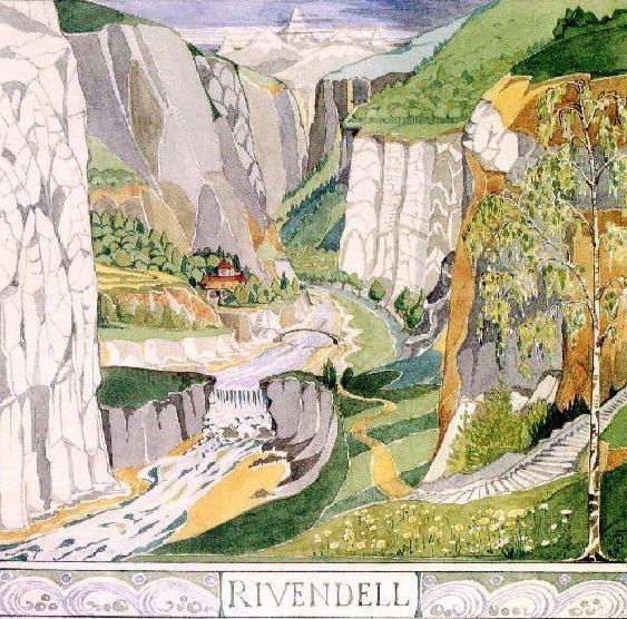 Ilustração de Valfenda (Rivendell, em inglês) feita por Tolkien (Foto: Wikimedia Commons)