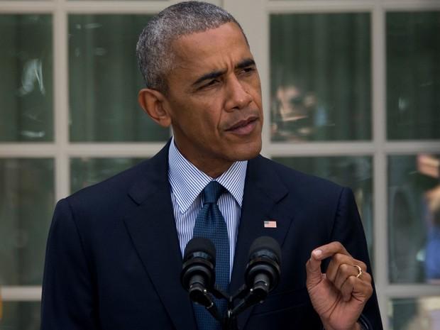 O presidente dos EUA, Barack Obama, durante pronunciamento no jardim da Casa Branca, na quarta (5) (Foto: Jim Watson/AFP)
