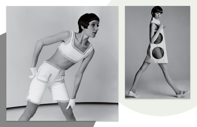 Looks da coleção Space Age, de 1964 (Foto: Kirstin Sinclair/Getty Images , Agência Fotosite, Getty Images, Divulgação e Reprodução/ Instagram)
