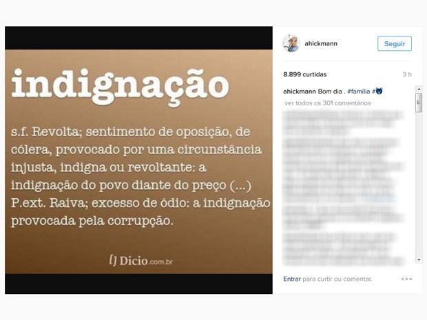 Após denúncia do Ministério Público, Ana Hickmann faz desabafo em rede social. (Foto: Reprodução/Instagram )