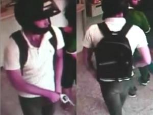 Imagens mostram suposto serial killer Tiago da Rocha durante roubo a lotéria em Goiânia, Goiás (Foto: Divulgação/Polícia Civil)
