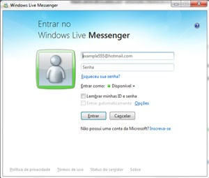 Tela de login do MSN Messenger que será descontinuado bem 2013 (Foto: Reprodução)