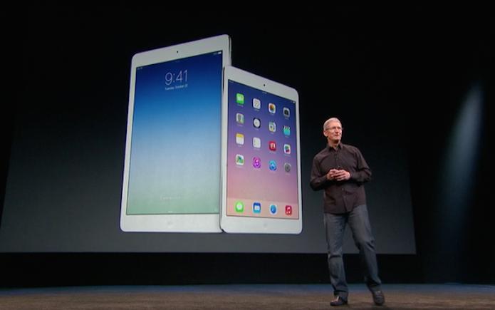 Tim Cook anuncia o iPad Air e o iPad mini 2 em 2013 (Foto: Divulgação/Apple)