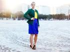 Fernanda Colombo, a 'bandeirinha gata', posa para ensaio de moda com as cores da bandeira do Brasil