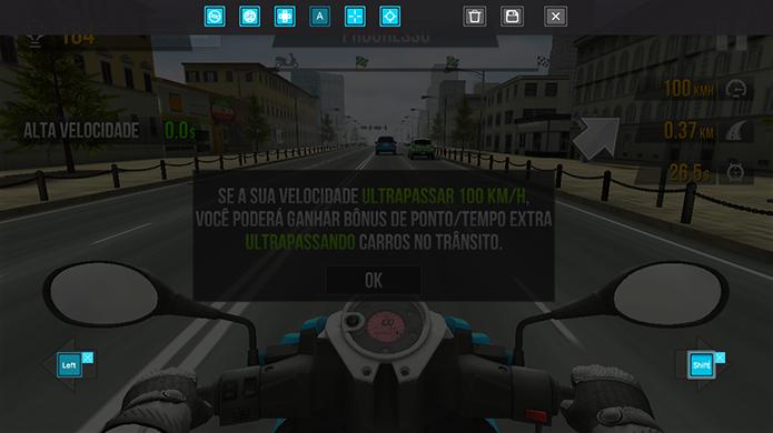 Posicione botões virtuais no Traffic Rider em PC (Foto: Reprodução/Murilo Molina)