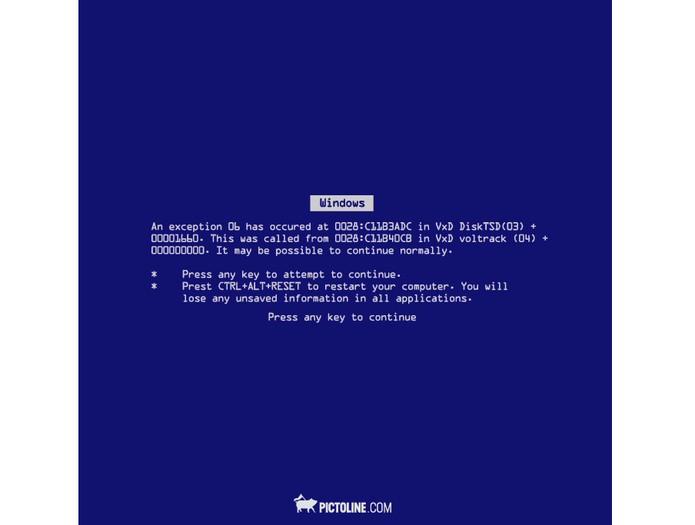 GIF mostra também a tradicional tela azul de erro do Windows (Foto: Divulgação/Pictoline)