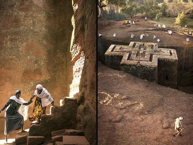 Fotos em Lalibela, na Etiópia, mostram a igreja monolítica de São Jorge, também conhecida como a Oitava Maravilha do Mundo (Foto: Philip Lee Harvey/www.tpoty.com/BBC)