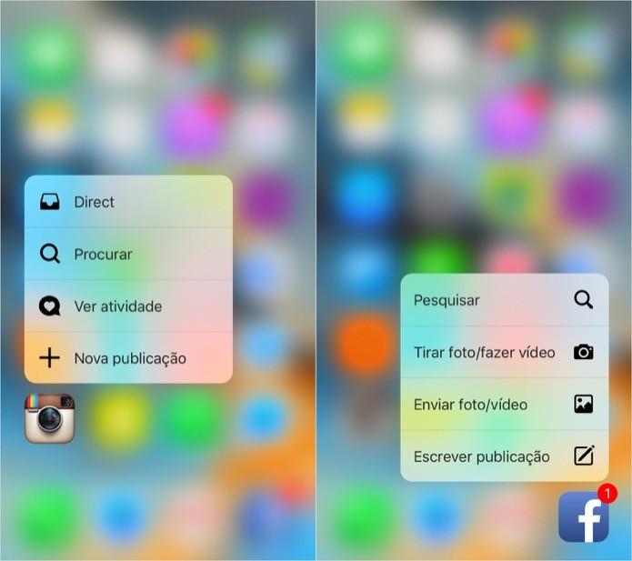 Atalho em aplicativos na tela inicial do iPhone (Foto: Reprodução/Helito Bijora)
