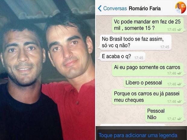 Foto tirada há 20 anos mostra Alexandre com Romário  (Foto: Alexandre / Arquivo pessoal e Reprodução WhatsApp )