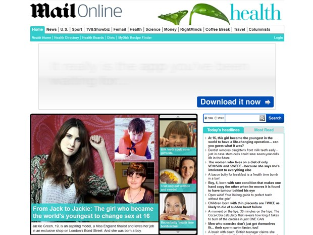 Site do jornal 'Daily Mail' neste domingo (4) mostra, no destaque maior, Jackie Green, junto de duas fotos de quando era o garoto Jack (Foto: Reprodução/Site Dailymail.co.uk)