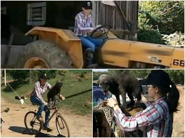 Cadela Preta gosta de passear no trator, na bicicleta e em cavalos (Foto: Reprodução/ TV TEM)