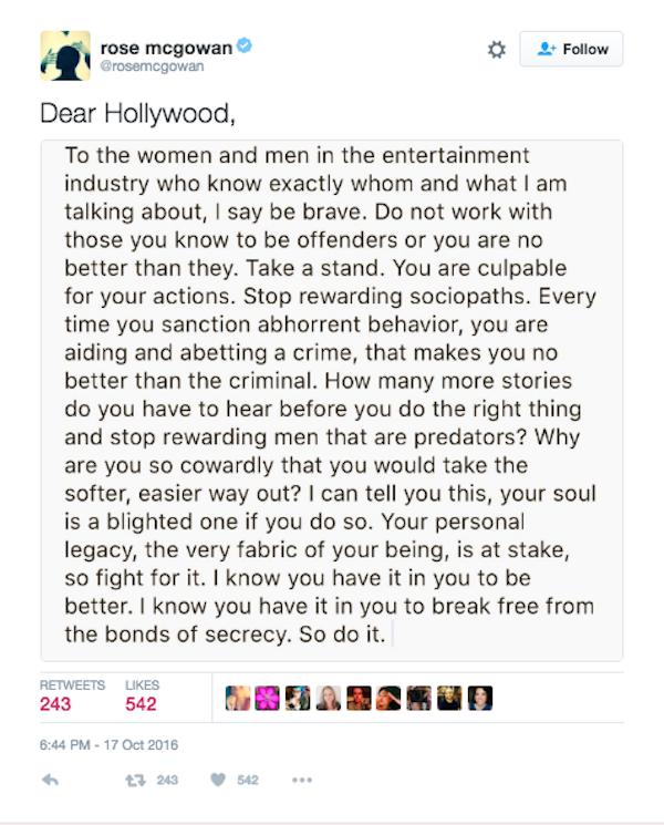 A carta divulgada pela atriz Rose McGowan (Foto: Twitter)