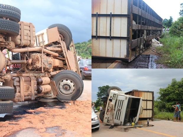 Caminhão carregado com bois perdeu controle e tombou na BR-364. Animais ficaram feridos. Combustível estava sendo derramado na pista (Foto: Ivanete Damasceno/G1)