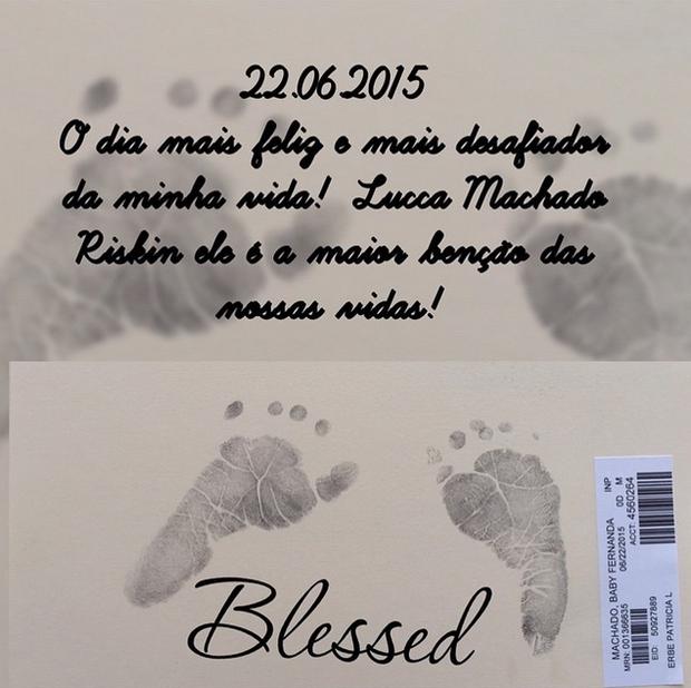 Nasce Lucca, filho de Fernanda Machado  (Foto: Reprodução/Instagram)