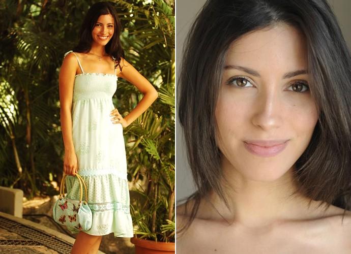 Marina Rigueira, à esquerda, como Dilene, e, à direita, em fase atual (Foto: João Miguel Júnior /  TV Globo / Arquivo pessoal)