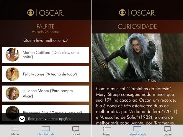 Aplicativo Globo traz enquetes e informações sobre o Oscar 2015 (Foto: Reprodução/Globo)