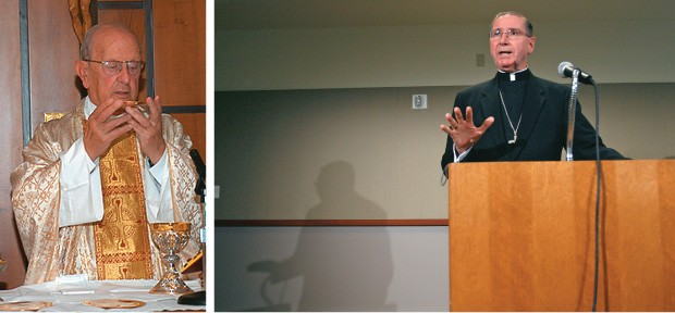 PECADOS O cardeal americano Roger Mahony fala em 2007 sobre denúncias de abuso sexual nos EUA (acima) e o padre mexicano Marcial Maciel, acusado de violência sexual, celebra missa em 2005 (à esq.). As denúncias de abuso contra mulheres e crianças, envolve (Foto: Gus Ruelas/AP e AFP)