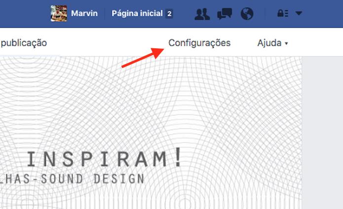 Caminho para acessar as configurações de uma página no Facebook (Foto: Reprodução/Marvin Costa)