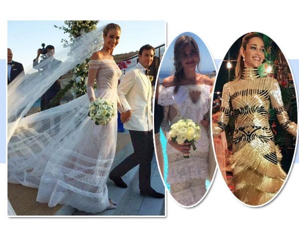 Ana Beatriz Barros usou três vestidos: Valentino (à esquerda), Alessandra Rich e Naeem Khan (Foto: Reprodução/Instagram)