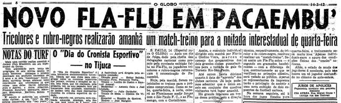 """Até jogo-treino mereceu destaque no """"O Globo"""" (Foto: Reprodução/O Globo)"""