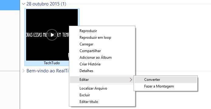 Convertendo vídeo no RealPlayer (Foto: Reprodução/Helito Bijora)