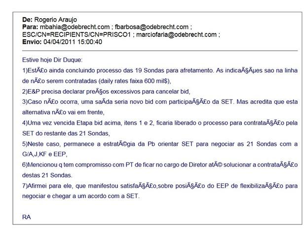 E-mail Rogério Araújo (Foto: Reprodução/Justiça Federal do Paraná)