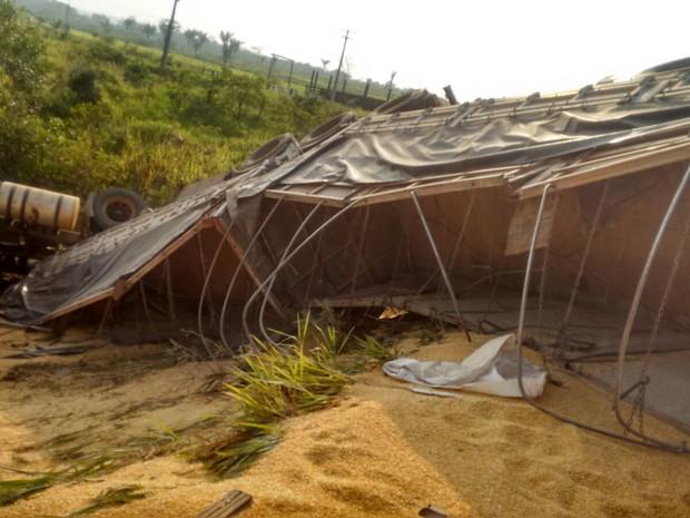 Após batida, milho ficou esparramado às margens e na rodovia (Foto: PRF/Divulgação)