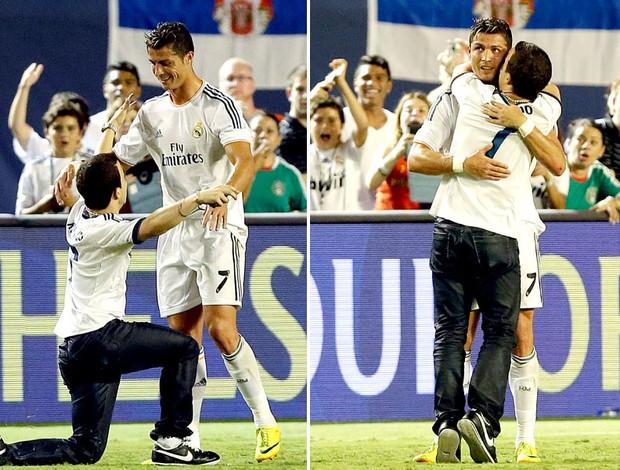 torcedor Cristiano Ronaldo invasão gramado jogo Chelsea Real Madrid (Foto: AP)