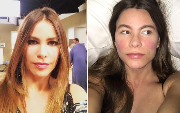 Sofia Vergara com e sem maquiagem (Foto: Reprodução/Instagram)