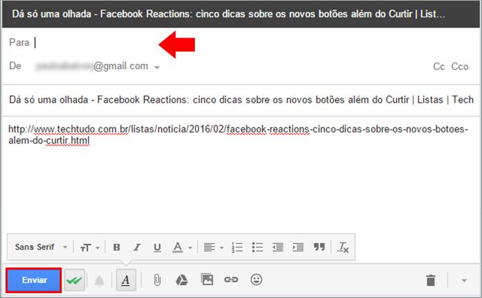 Preencha o e-mail com o endereço do destinatário e envie (Foto: Reprodução/Paulo Alves)