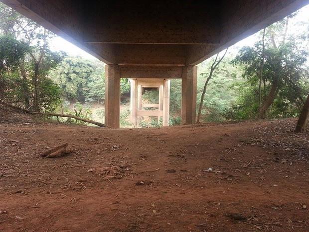Nível do Rio ultrapassava base da ponte (Foto: Anna Lúcia Silva/G1)
